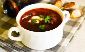 Суп с фасолью на мясном бульоне